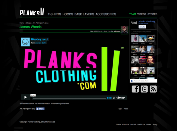 Planks Clothing Blog Site Screen Shot